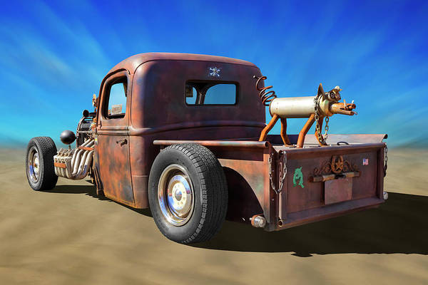Street Rod Photograph - Rat Truck On Beach 2 by Mike McGlothlen