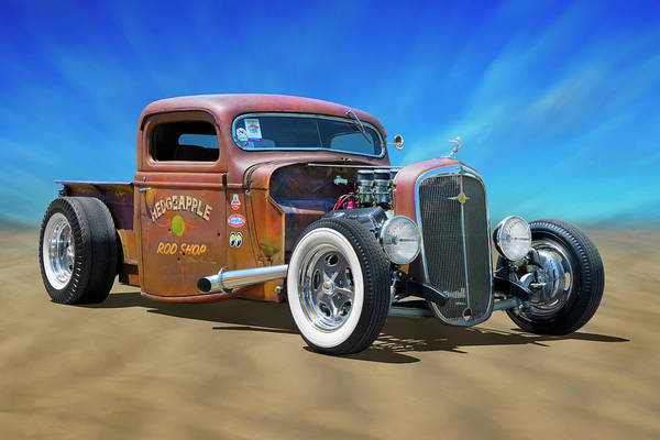 Street Rod Photograph - Rat Truck On The Beach by Mike McGlothlen
