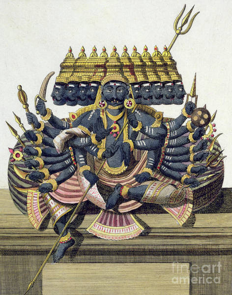 Hindu Drawing - Ravana, Demon King Of Ceylon by Pierre Sonnerat