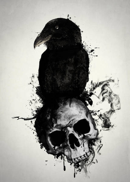 Skulls Wall Art - Mixed Media - Raven And Skull by Nicklas Gustafsson