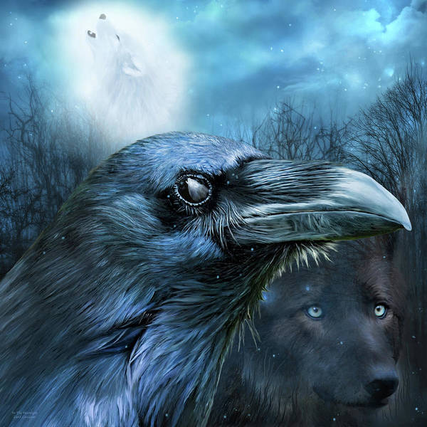 Mixed Media - Raven And Wolf - In The Moonlight by Carol Cavalaris