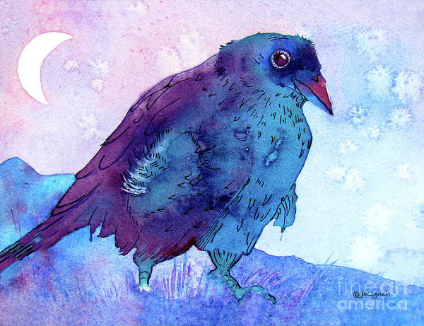 Painting - Raven At Dusk by Jo Lynch