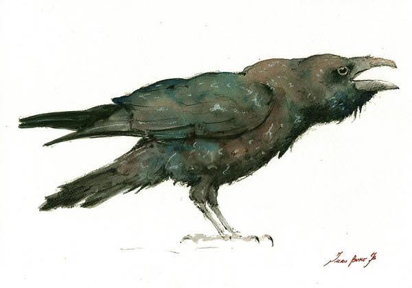 Ravens Painting - Raven Bird by Juan Bosco