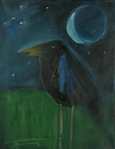 Painting - raven by moonlight No. 1 by Tim Nyberg