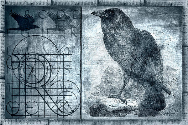 Raven Etching Photomontage Art Print