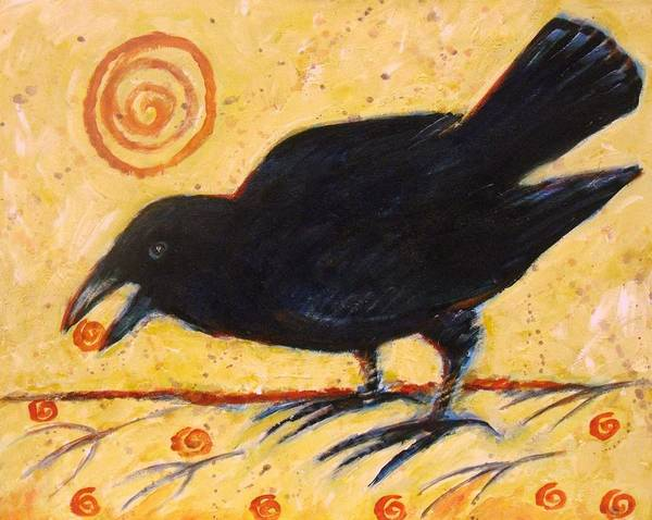 Blackbirds Painting - Raven Grazing by Carol Suzanne Niebuhr
