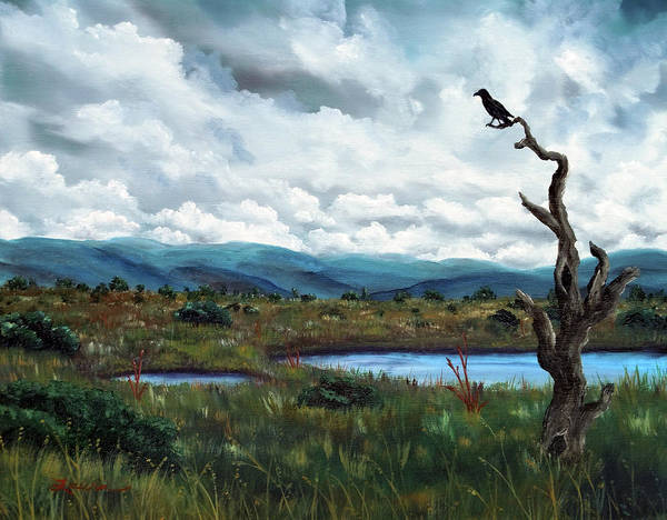 Gloomy Painting - Raven In A Bleak Landscape by Laura Iverson