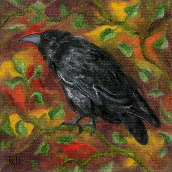 Raven In Autumn Art Print