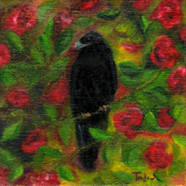 Raven In Roses Art Print