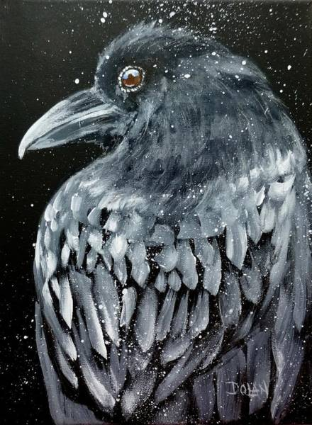 Painting - Raven In Snow by Pat Dolan