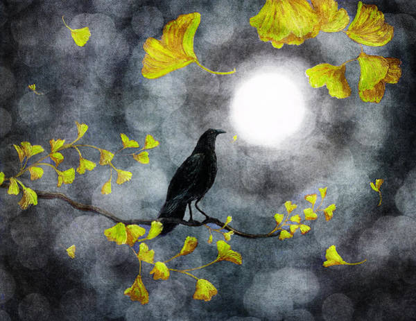 Gold Leaves Digital Art - Raven In The Rain by Laura Iverson