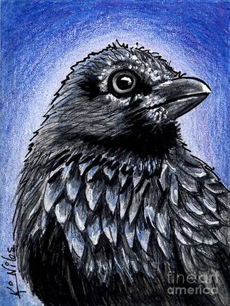 Raven Drawing - Raven by Kim Niles