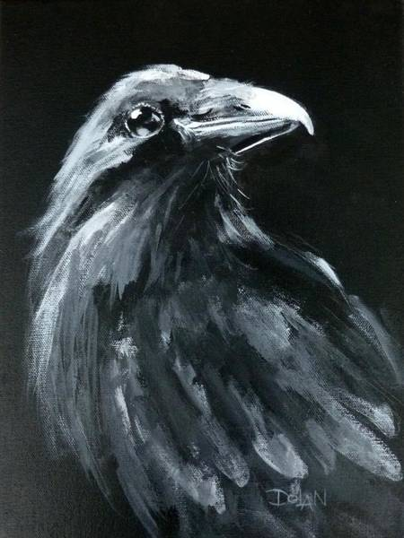 Painting - Raven Looking Right by Pat Dolan