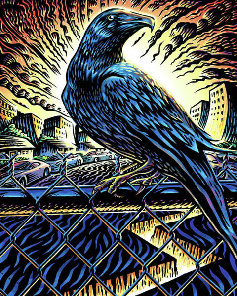 Fence Mixed Media - Raven by Mark Wagner
