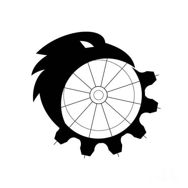 Merge Digital Art - Raven Merging To Cog Icon by Aloysius Patrimonio