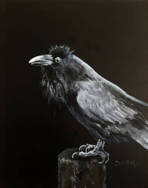 Painting - Raven On Post by Pat Dolan