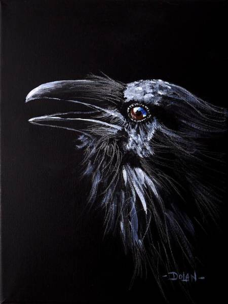 Painting - Raven Portrait by Pat Dolan