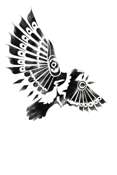 Bird Wall Art - Painting - Raven Shaman Tribal Black And White Design by Sassan Filsoof