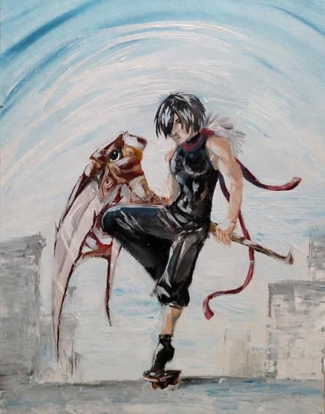 Videogame Painting - Raven Warrior by Tiffani Burkett