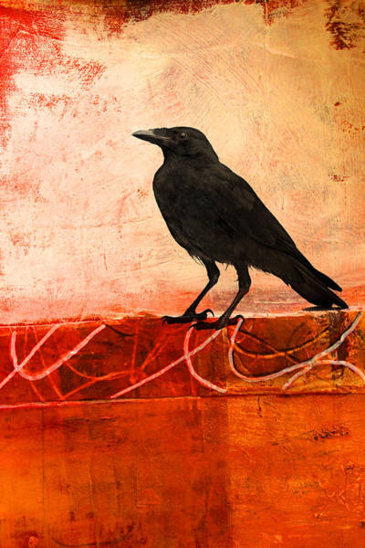Wall Art - Painting - Raven Watching by Nancy Merkle