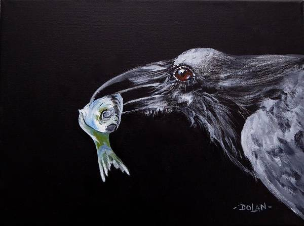 Painting - Raven With Fish by Pat Dolan