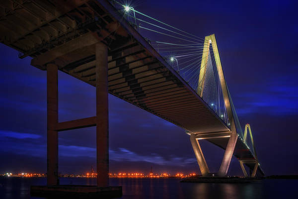 Cable-stayed Bridge Photograph - Ravenel Bridge At Dusk by Rick Berk