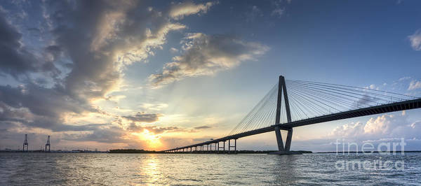 Ravenel Bridge Cooper River Sunset Art Print