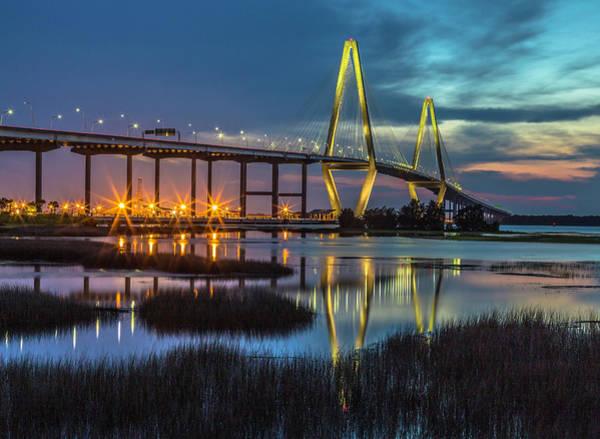 Photograph - Ravenel Bridge Reflection by Donnie Whitaker