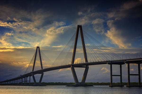 Cable-stayed Bridge Photograph - Ravenel Bridge Sunset by Rick Berk