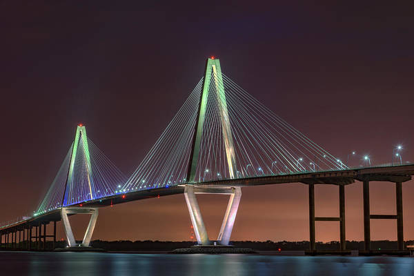 Cable-stayed Bridge Photograph - Ravenel Bridge Twilight by Rick Berk