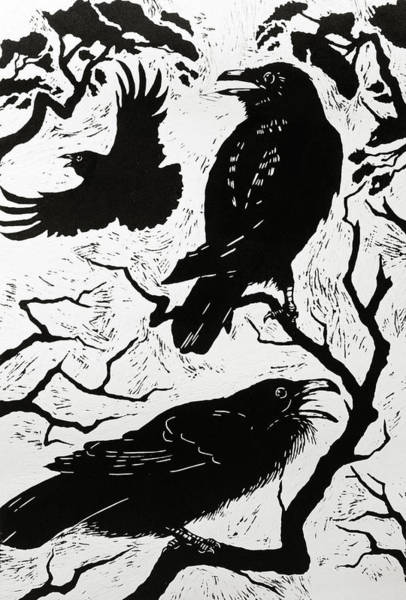 Crows Nest Wall Art - Painting - Ravens by Nat Morley