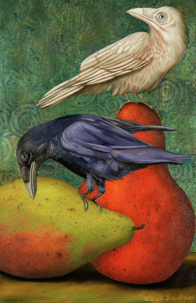 Painting - Ravens On Pears by Leah Saulnier The Painting Maniac