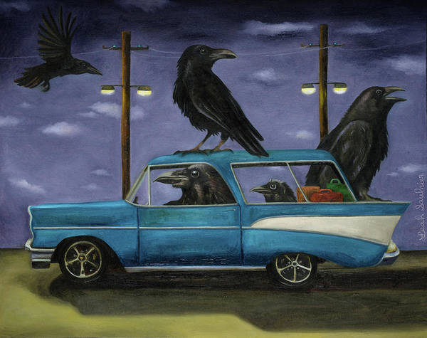 Wall Art - Painting - Ravens' Ride by Leah Saulnier The Painting Maniac
