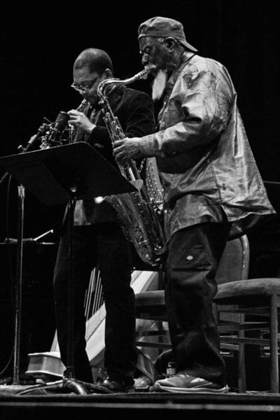 Photograph - Ravi Coltrane And Pharoah Sanders 2 by Lee Santa
