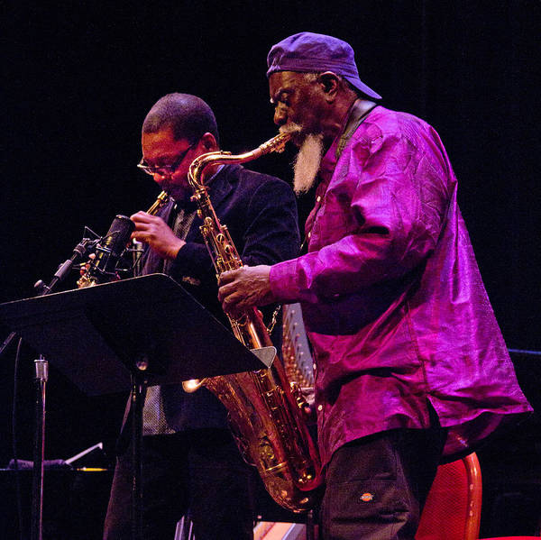 Photograph - Ravi Coltrane And Pharoah Sanders 3 by Lee Santa