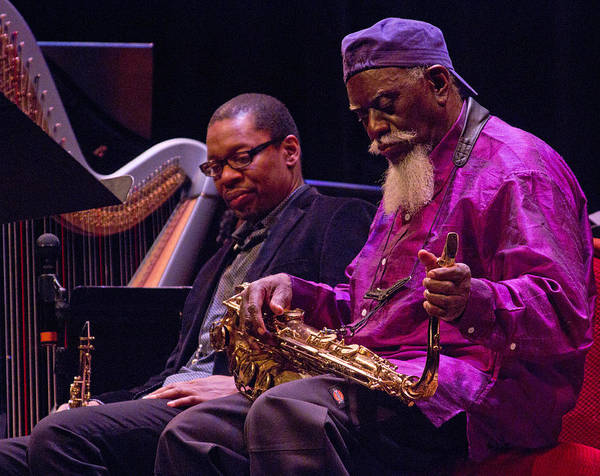Photograph - Ravi Coltrane And Pharoah Sanders 5 by Lee Santa