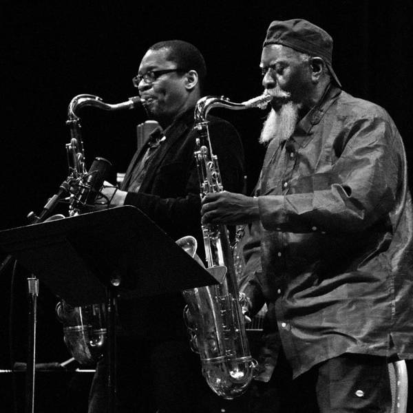 Photograph - Ravi Coltrane And Pharoah Sanders 8 by Lee Santa