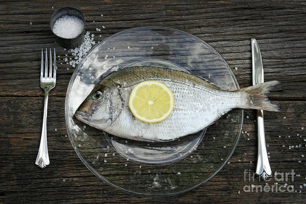 Photograph - Raw Fish On Plate With Knife And Fork by Sandra Cunningham