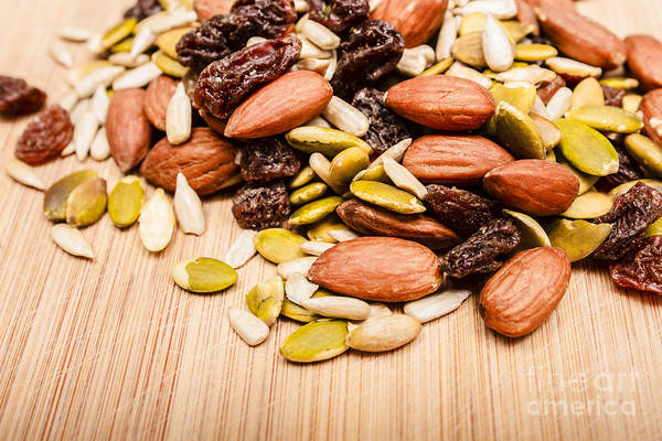 Sunflower Seeds Photograph - Raw Organic Nuts And Seeds by Jorgo Photography - Wall Art Gallery