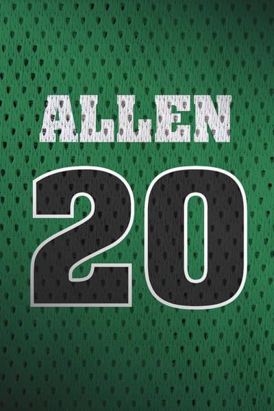 Celtic Mixed Media - Ray Allen Boston Celtics Retro Vintage Jersey Closeup Graphic Design by Design Turnpike