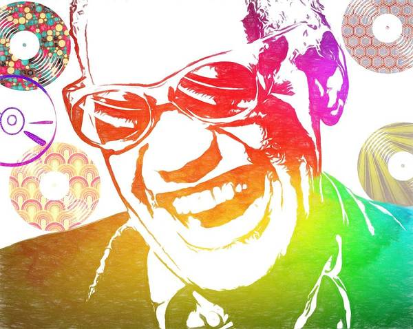 Jazz-funk Painting - Ray Charles Retro Tribute by Dan Sproul