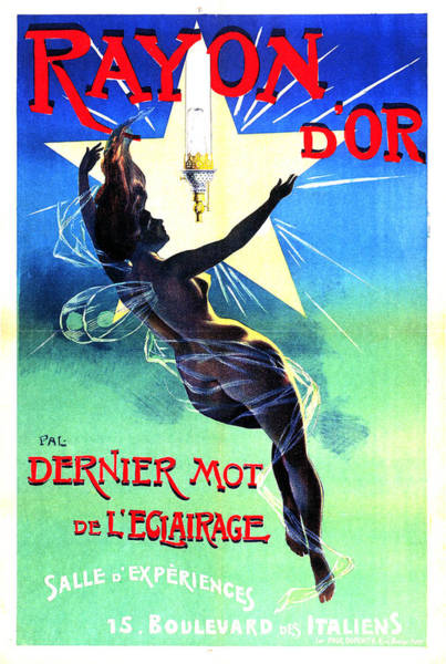 Lights Mixed Media - Rayon D'or, Paris - Gas Lamp Lighting Fixture - Vintage Advertising Poster By Jean De Paleologue by Studio Grafiikka