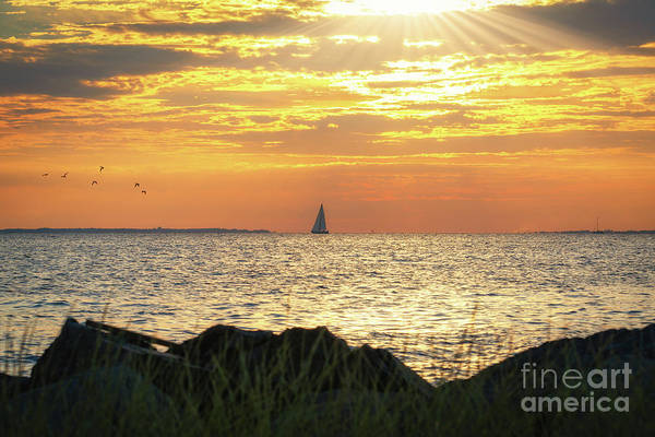 Fire In The Sky Wall Art - Photograph - Rays Over Sandy Hook Bay by Michael Ver Sprill