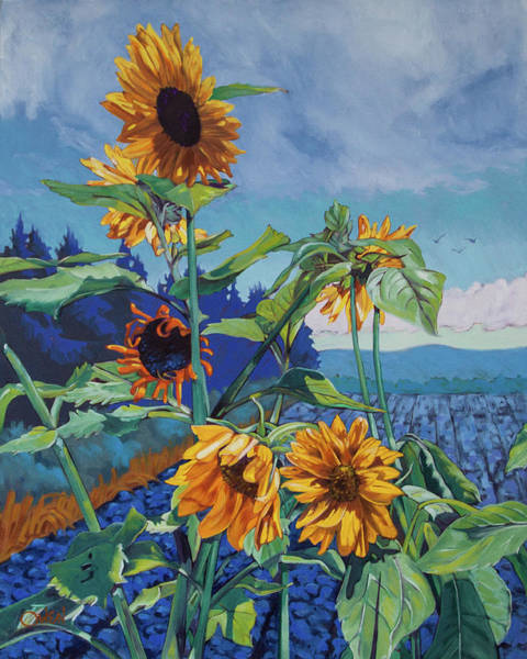 Painting - Ray's Sunflowers by Rob Owen
