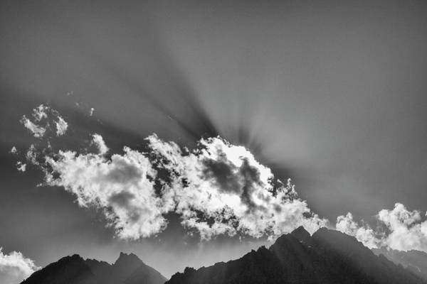 Photograph - Rays Through Clouds, Keylong, 2005 by Hitendra SINKAR