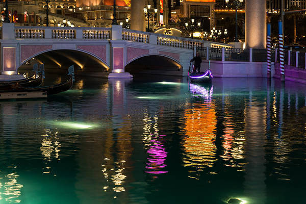 Photograph - Razzle Dazzle - Colorful Neon Lights Up Canals And Gondolas At The Venetian Las Vegas by Georgia Mizuleva