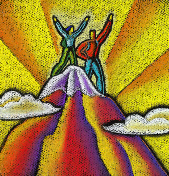 Pleasing Wall Art - Painting - Reaching The Mountain Top  by Leon Zernitsky