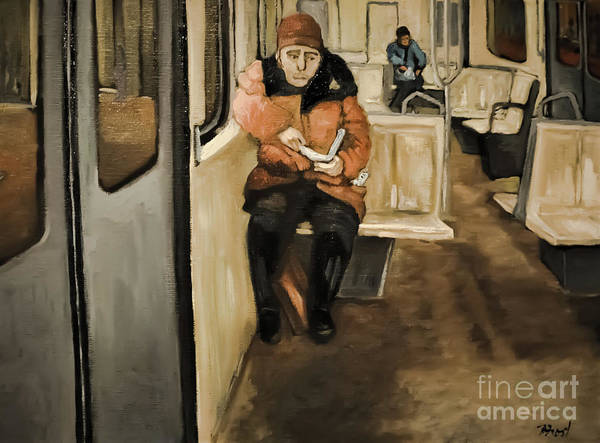 Montreal Scenes Painting - Reader On The Metro by Reb Frost