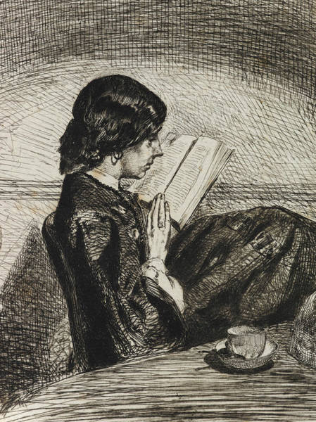 Relief - Reading By Lamplight by James Abbott McNeill Whistler