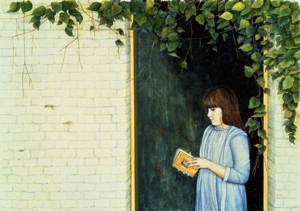 Blue Dress Painting - Reading Girl by Ditz